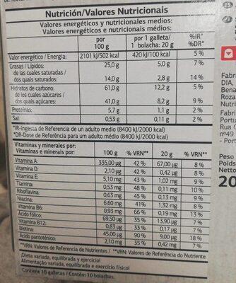 Vital snacks multivitaminas - Nutrition facts - es
