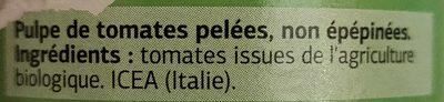 Pulpe de tomates bio - Ingredientes - fr