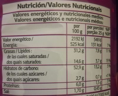 Chips Aromatisées Jambon - Nutrition facts