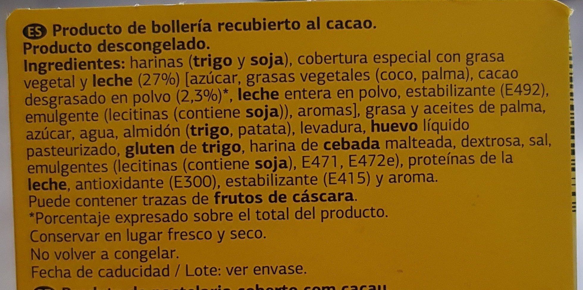 Bolleria al cacao - Ingredients