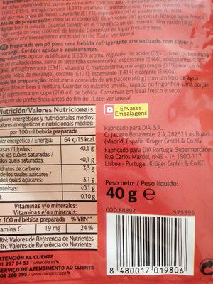 Preparado em pó sabor Morango - Ingrediënten