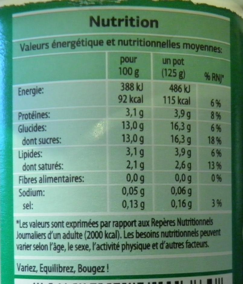 Bifidus saveur Coco - Voedingswaarden - fr