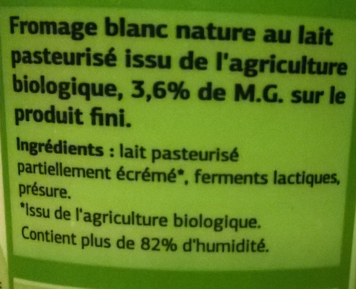 Fromage blanc nature bio dia 500 g - Quantite de fromage par personne ...