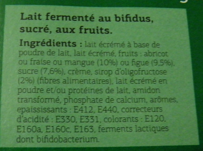 Bifidus brassé (Figue, Abricot, Mangue, Fraise) 8 Pots - Ingredients - fr