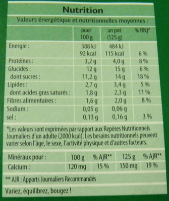 Bifidus brassé (Figue, Abricot, Mangue, Fraise) 8 Pots - Nutrition facts - fr