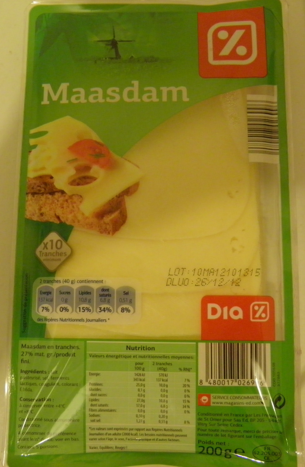 Maasdam (27% MG) x 10 tranches - 200 g - Dia - Product - fr