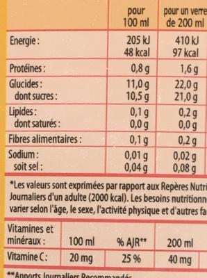 Pur jus d'orange - Voedingswaarden - fr