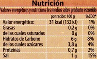 Pimientos Rojos Asados en Tiras - Información nutricional - es