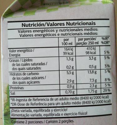 Crema de verduras DIA - Información nutricional