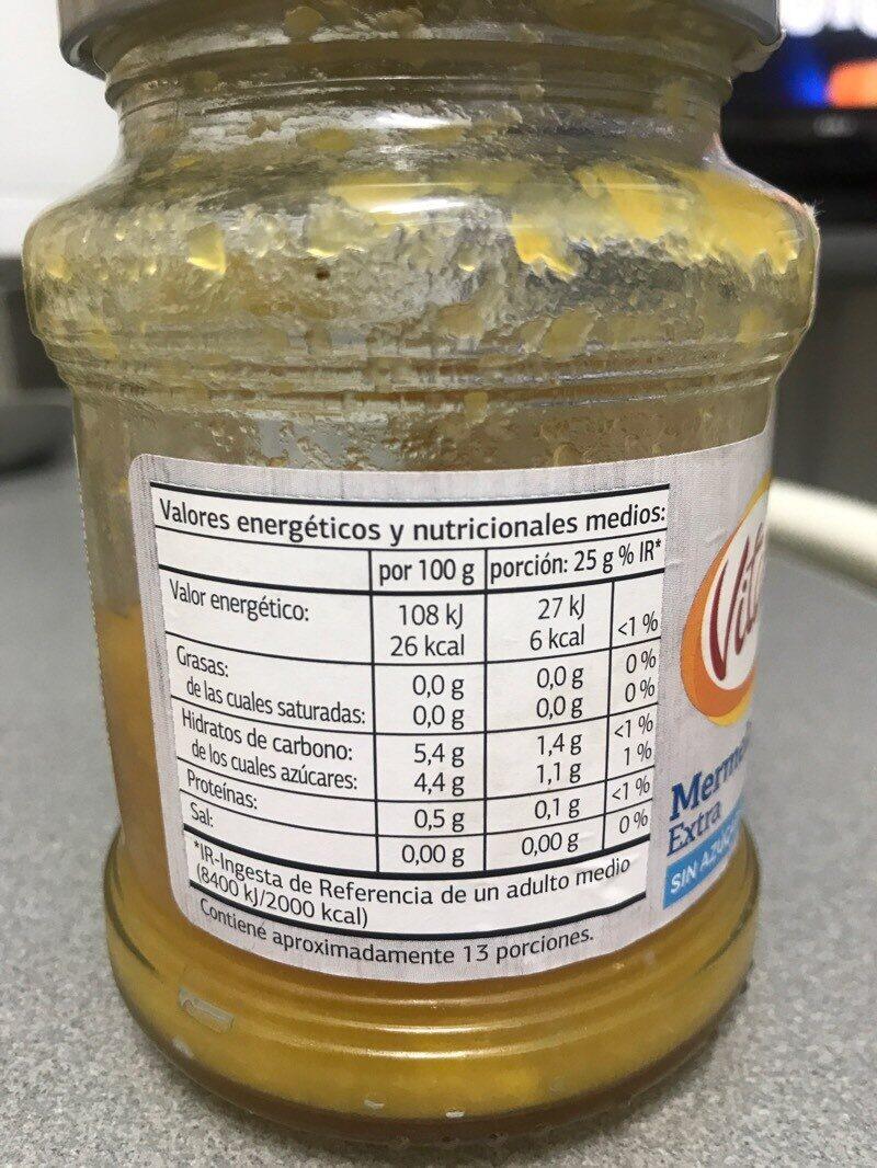 Mermelada de melocotón extra con edulcorante - Información nutricional