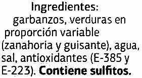 Garbanzos con verduras - Ingrédients - es