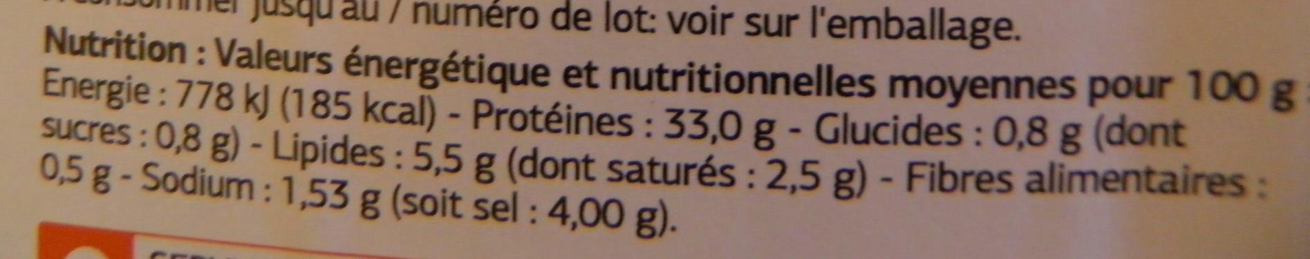 Viande séchée dans les Alpes - Informations nutritionnelles