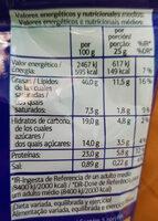 Cacahuetes au miel - Información nutricional