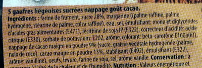 Gaufres Liégeoises sucrées Nappage goût cacao - Ingrédients - fr