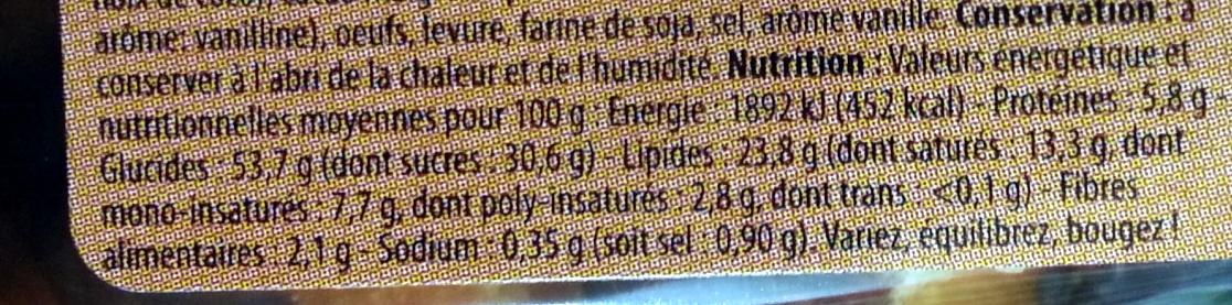 Gaufres Liégeoises sucrées Nappage goût cacao - Informations nutritionnelles - fr