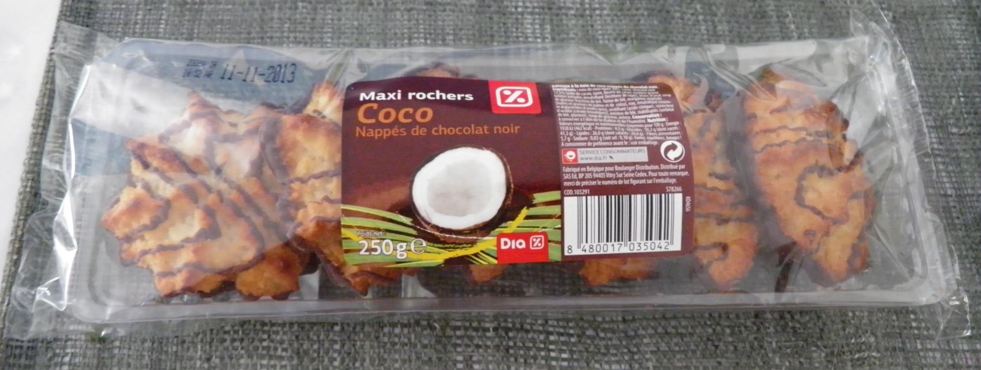 Maxi rochers Coco Nappés de Chocolat Noir - Produit