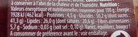 Maxi rochers Coco Nappés de Chocolat Noir - Informations nutritionnelles