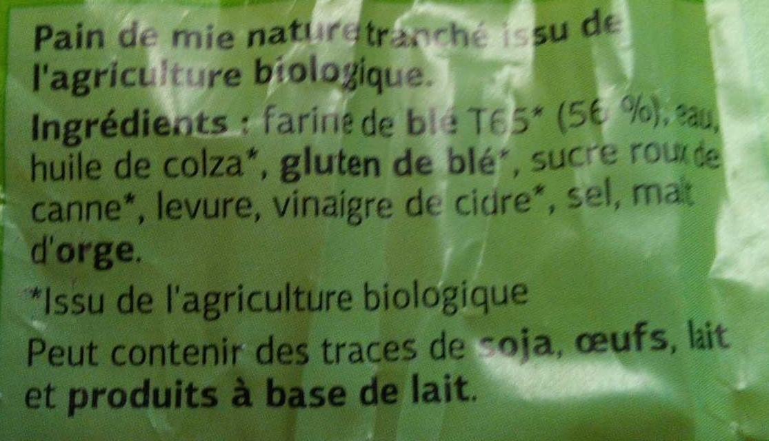 Pain de mie Bio - Ingredients - fr
