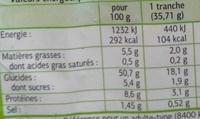 Pain de mie Bio - Nutrition facts - fr