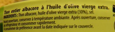 Thon Albacore (à l'huile d'olive vierge extra) - Ingrédients - fr
