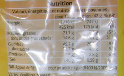 Mini croissants pur beurre - Nutrition facts