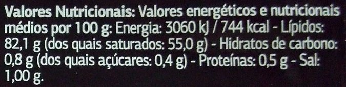 Manteiga dos Açores - Nutrition facts