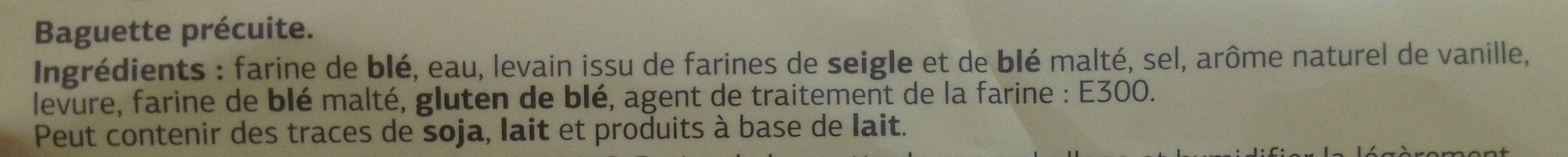 Baguette précuite - Ingrédients
