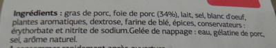 Pâté de foie de porc qualité supérieure - Ingrédients - fr
