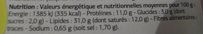 Pâté de foie de porc qualité supérieure - Informations nutritionnelles - fr