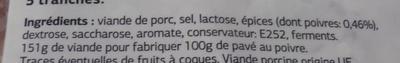 Pavé au poivre Dia - Ingrediënten - fr