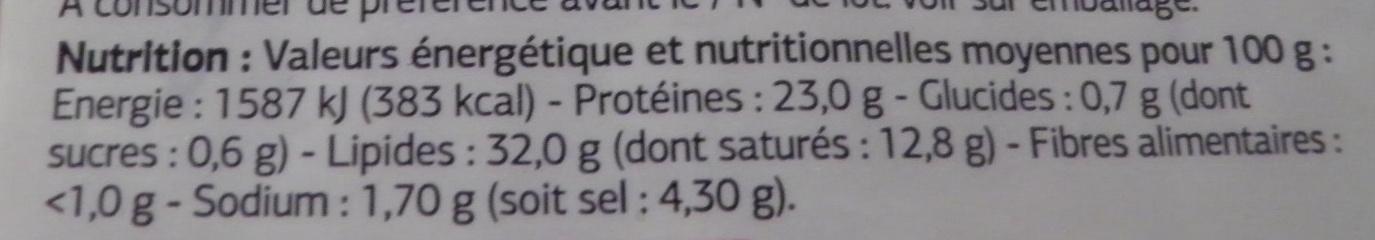Pavé au poivre Dia - Voedingswaarden - fr