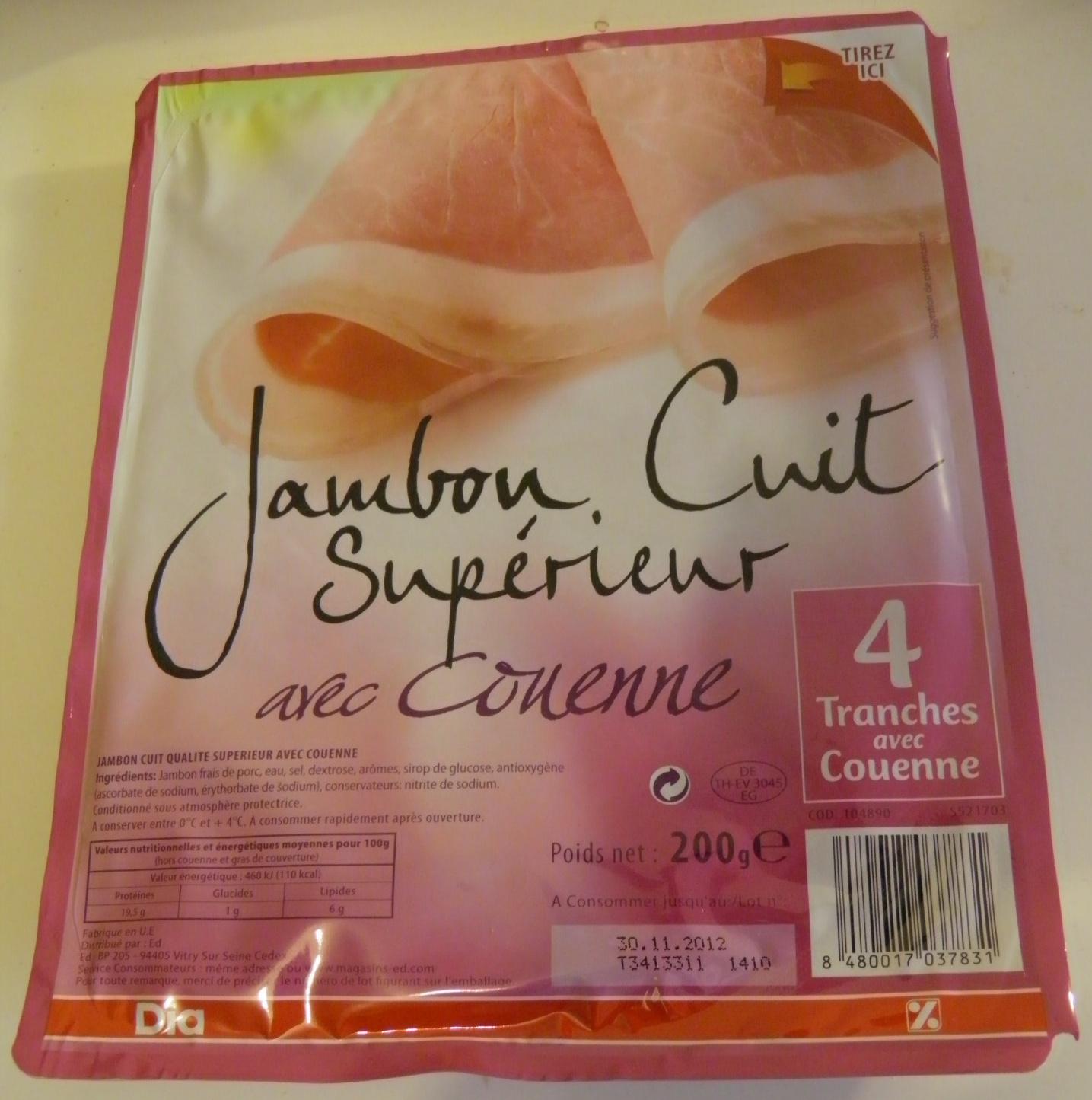 Jambon Cuit Supérieur avec couenne Dia 4 tranches - Produit - fr