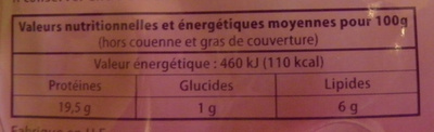 Jambon Cuit Supérieur avec couenne Dia 4 tranches - Informations nutritionnelles - fr
