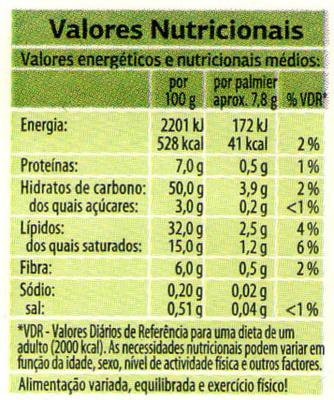 Palmiers integrais com edulcorantes - Nutrition facts