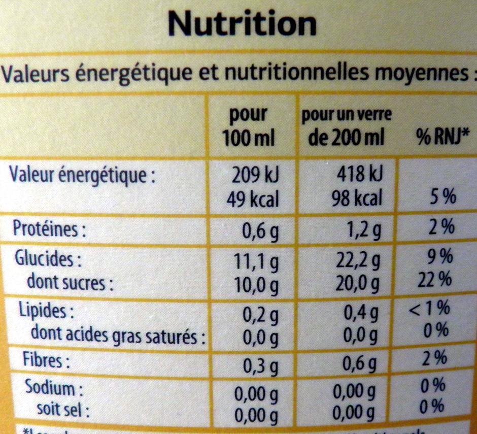 Pur jus Orange Mangue - Informations nutritionnelles - fr