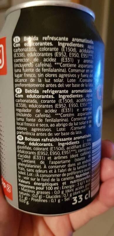 Cola 0% - Informations nutritionnelles