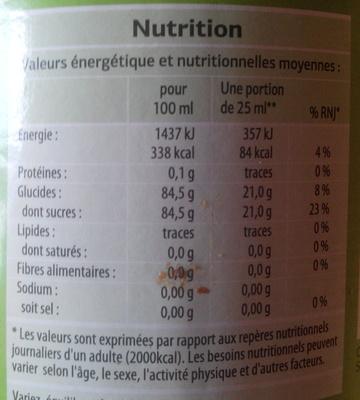 Sirop de grenadine bio - Nährwertangaben - fr