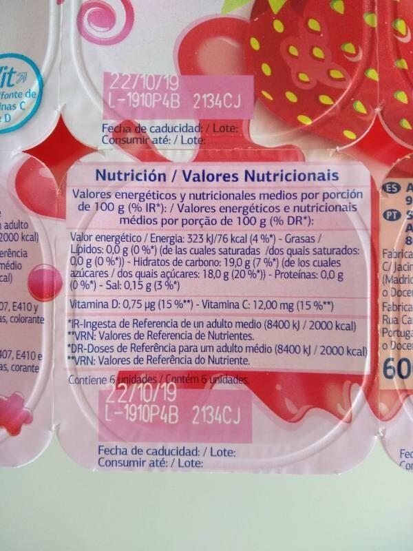 Gelatinas - Información nutricional