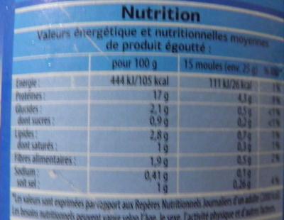 Moules apéritives - Nutrition facts - fr