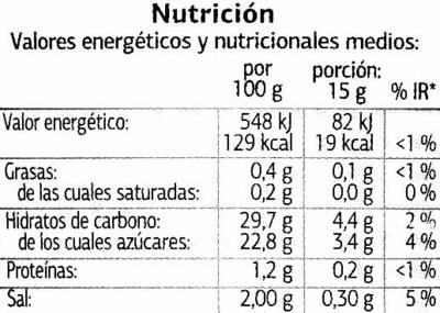 Salsa Kétchup - Dia - 560 G - Información nutricional