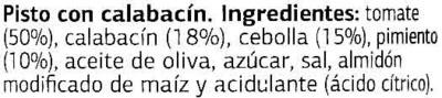 Pisto con Calabacín - Ingredients