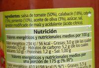 Pisto con calabacín - Informació nutricional - es