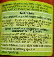 Pisto con Calabacín - Voedingswaarden - es