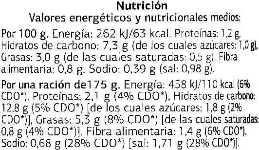 Pisto con Calabacín - Nutrition facts