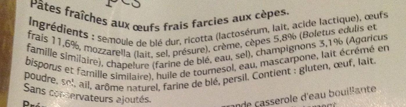 Raviolis aux cêpes - Ingredients - fr