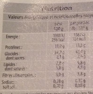 Raviolis aux cêpes - Nutrition facts - fr
