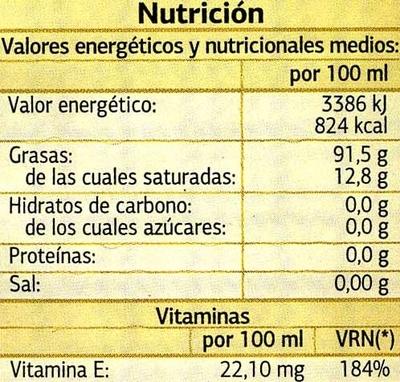 Aceite de oliva virgen extra Frutado - Informació nutricional