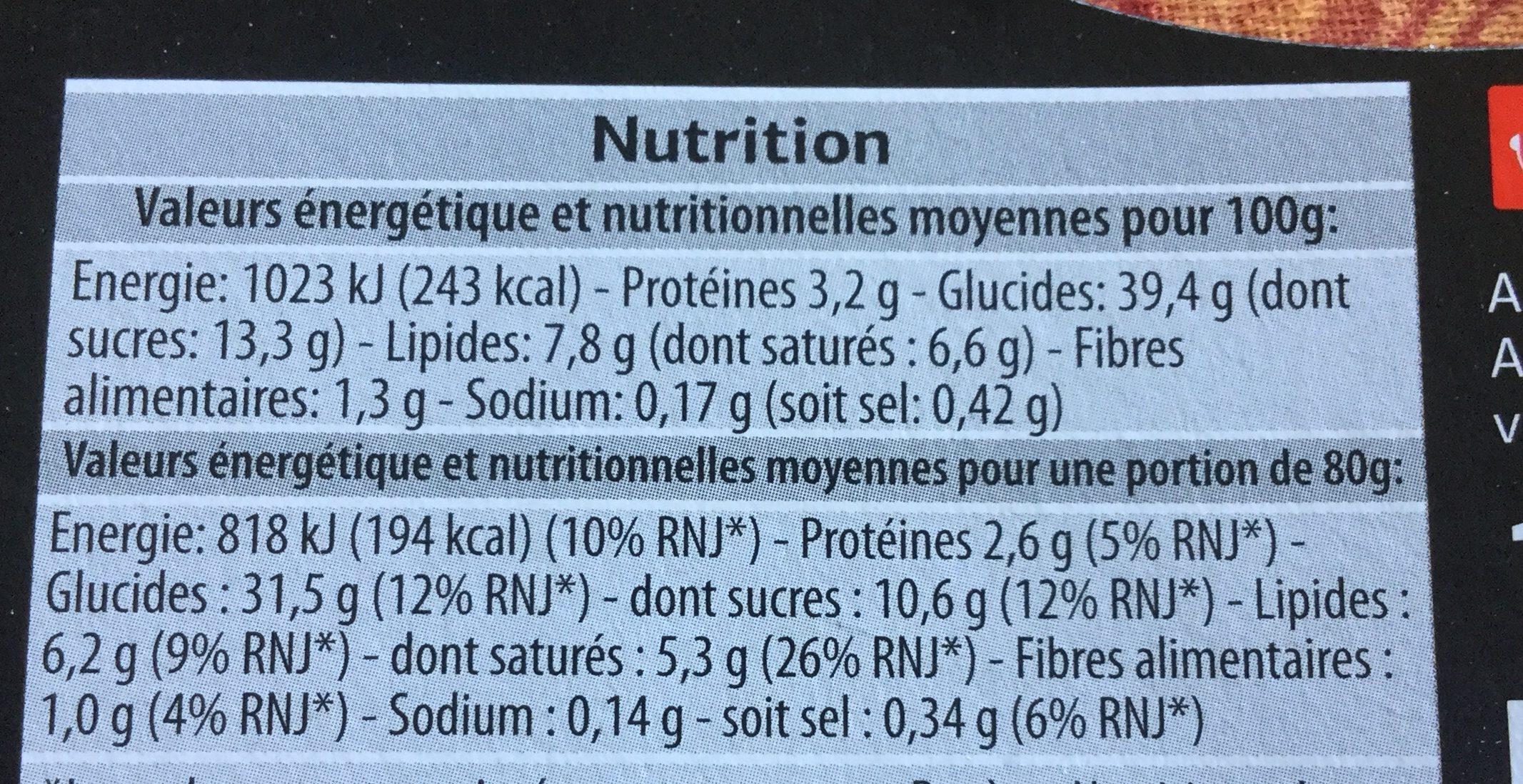 Tiramisu (x 2) - Informations nutritionnelles - fr
