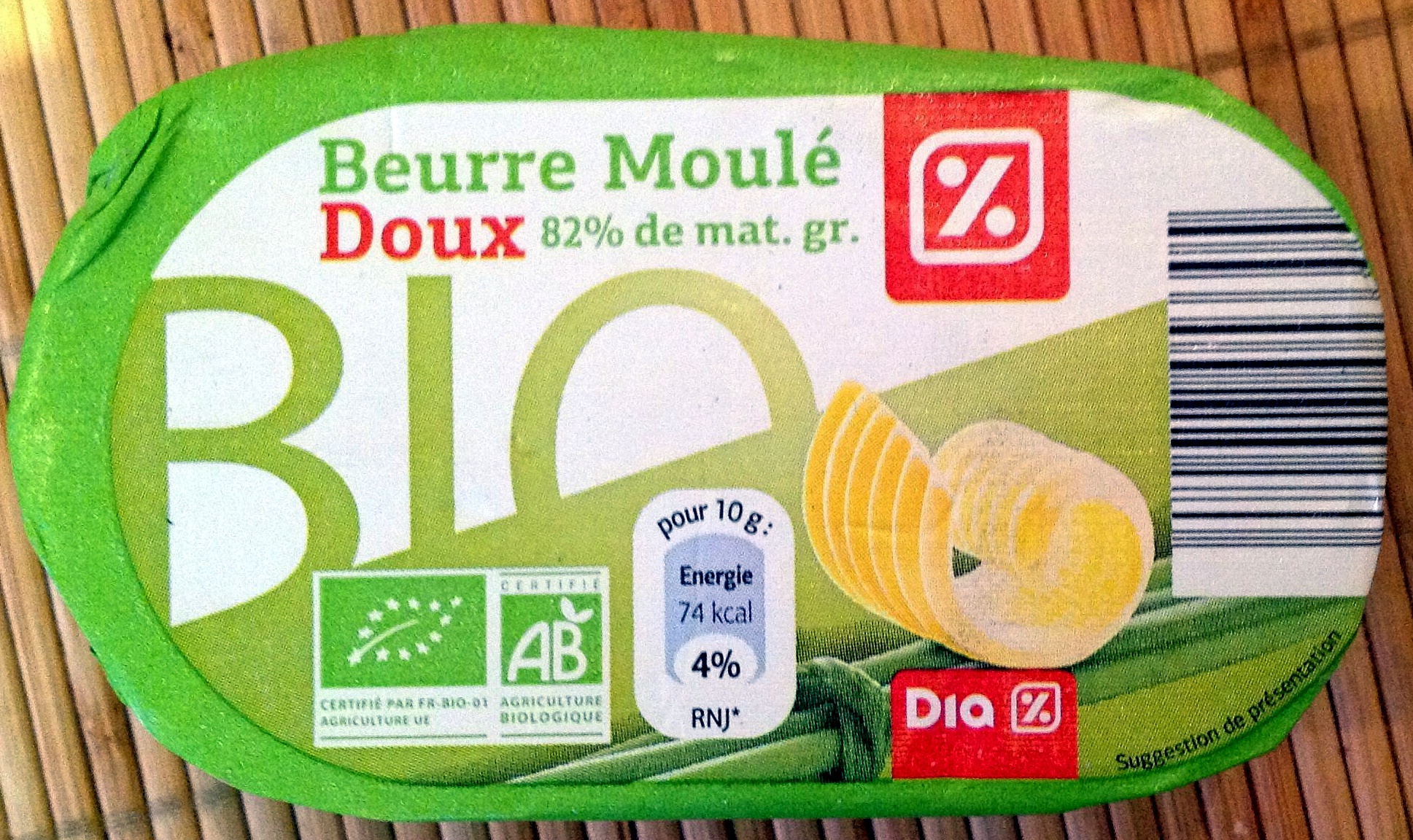Beurre moulé doux bio (82% MG) - Product