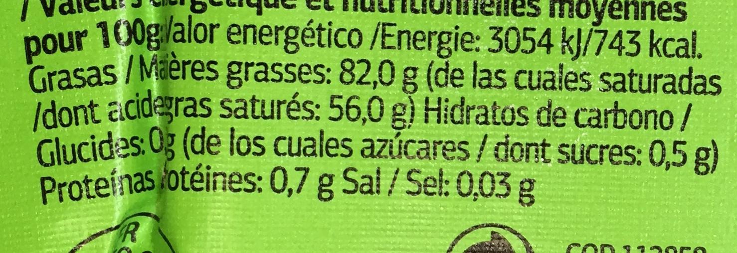 Beurre moulé doux bio (82% MG) - Informations nutritionnelles - fr